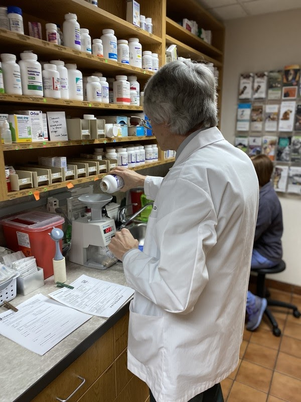 Dr. McBride in the BVAC pharmacy. Veterinarians in Michigan can now discuss CBD with clients.